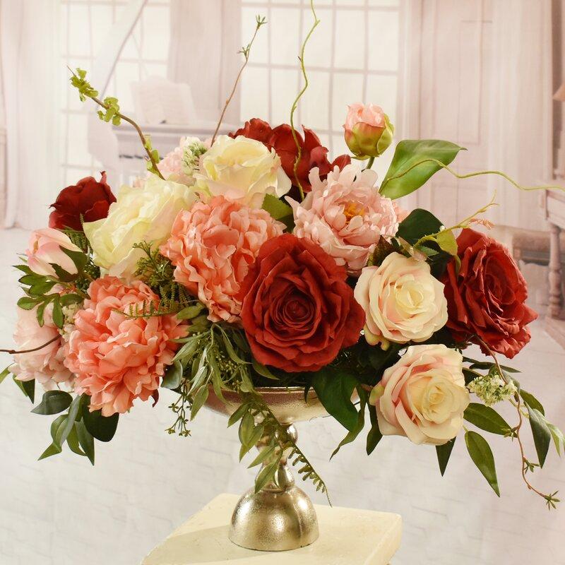 Rosdorf park garden silk peonies and rose floral arrangement in garden silk peonies and rose floral arrangement in decorative vase mightylinksfo