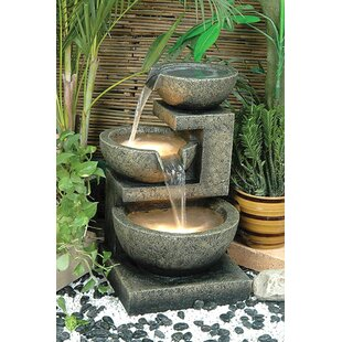 Resin Rocca Outdoor Tiered Fountain With Light