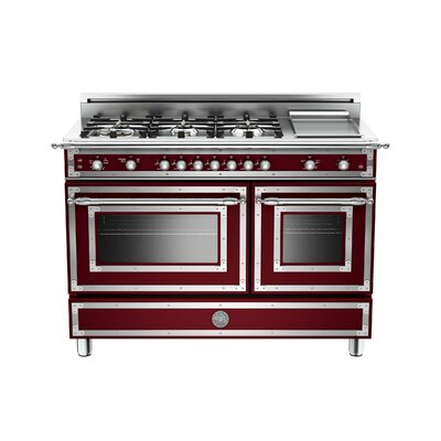 Heritage Series 48 Free-Standing Gas Range with Griddle Bertazzoni Color: Burgundy