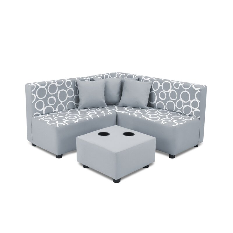 Nekoosa Kids Cotton Sofa And Ottoman With Cup Holder