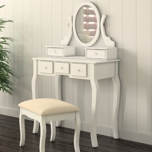 Zeke Wood Makeup Vanity Set With Mirror