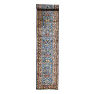 "One-of-a-Kind Campagna Super Kazak Tribal Carpet Hand-Knotted Runner 2'9"" x 17'6"" Wool Blue Area Rug"