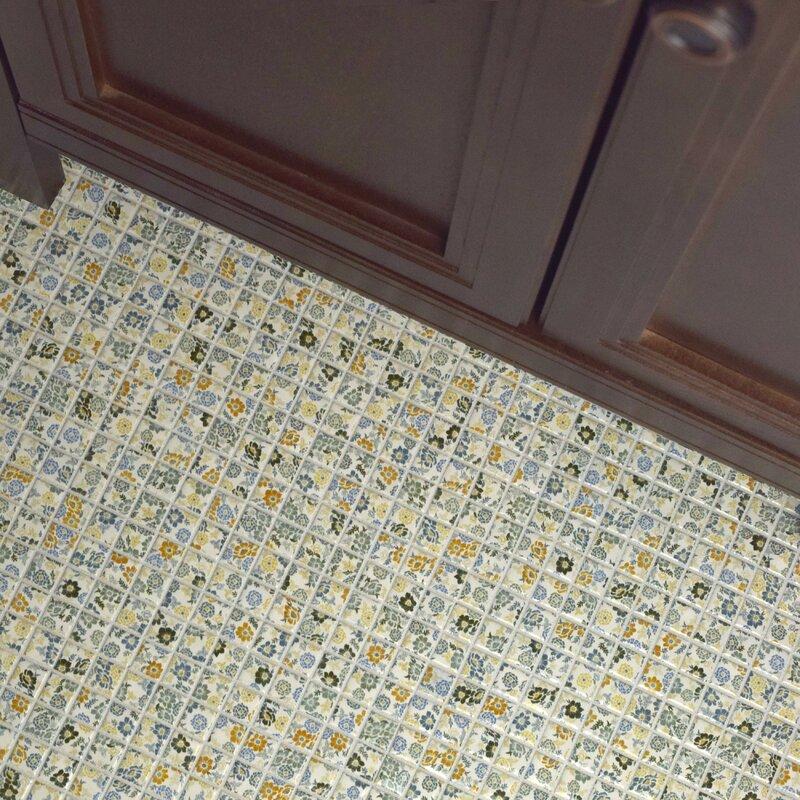Elitetile Summer Flora 075 X 075 Porcelain Mosaic Tile In Blue