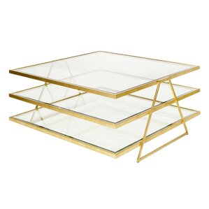 Worlds Away 3 Tier Coffee Table with Magazine Rack Image