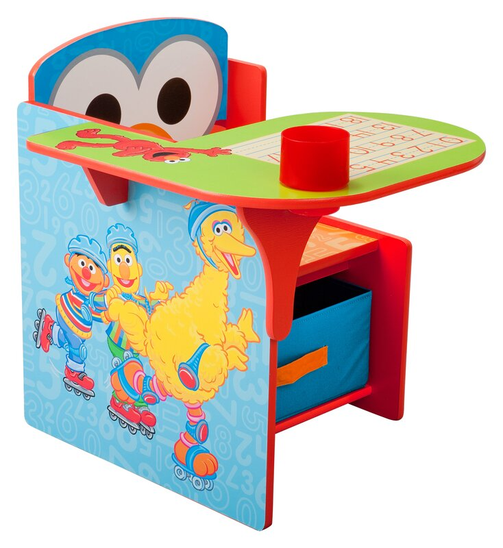 Sesame Street Kids Desk Chair with Storage Compartment and Cup Holder  sc 1 st  Wayfair & Delta Children Sesame Street Kids Desk Chair with Storage ...