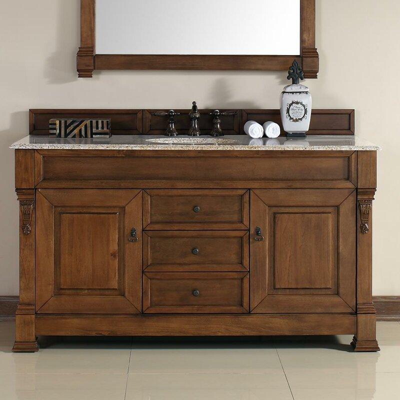 """Bedrock 60"""" Single Country Oak Bathroom Vanity Set with Drawers"""