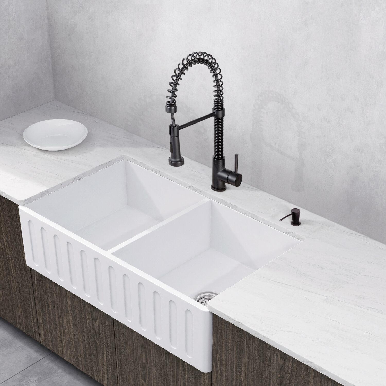 "Vigo Laurelton Pull Down Spray Kitchen Faucet In Matte Black stone 36"" l x 18"" w double basin farmhouse kitchen sink with faucet"