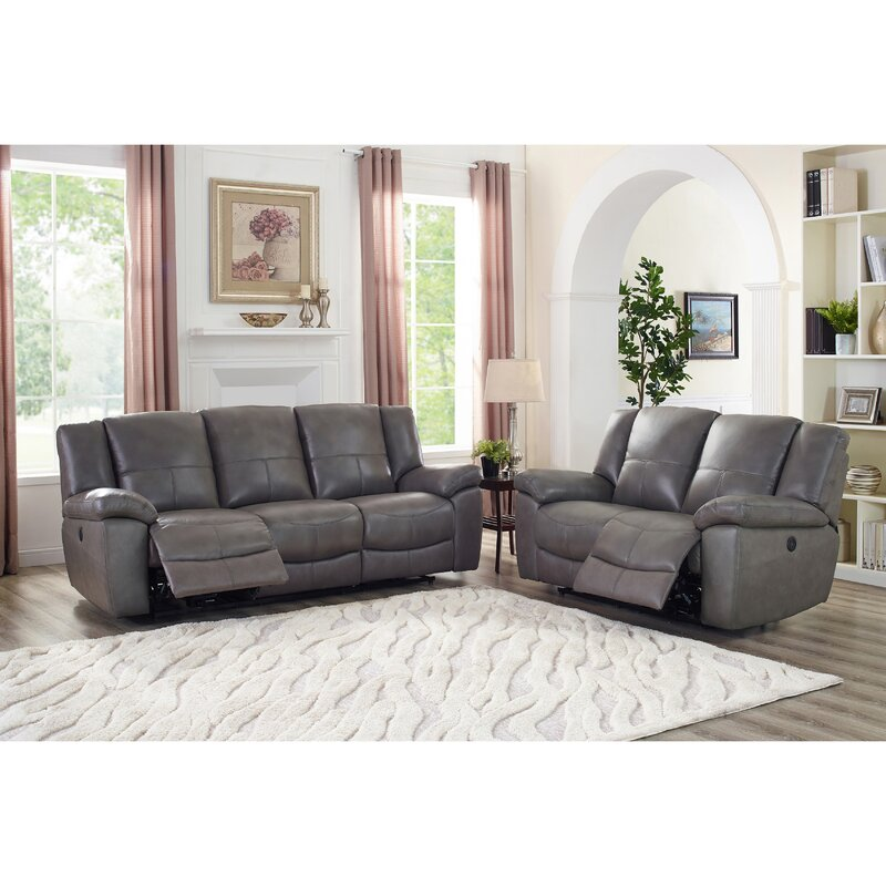 Yeldell Lay Flat Power 2 Piece Leather Reclining Living Room Set