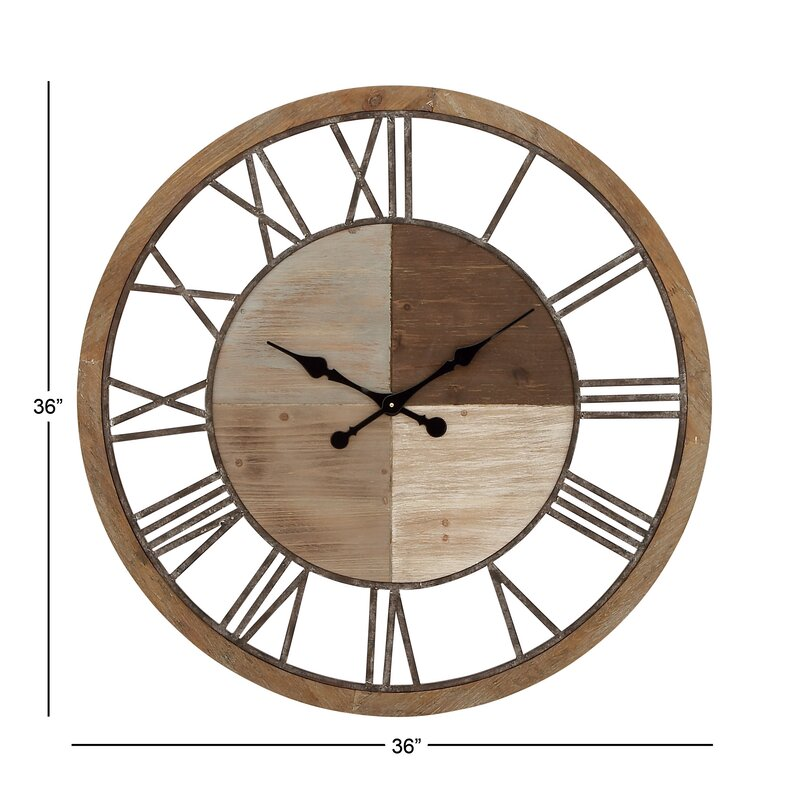 "Oversized Wood and Metal 36"" Wall Clock & Reviews"