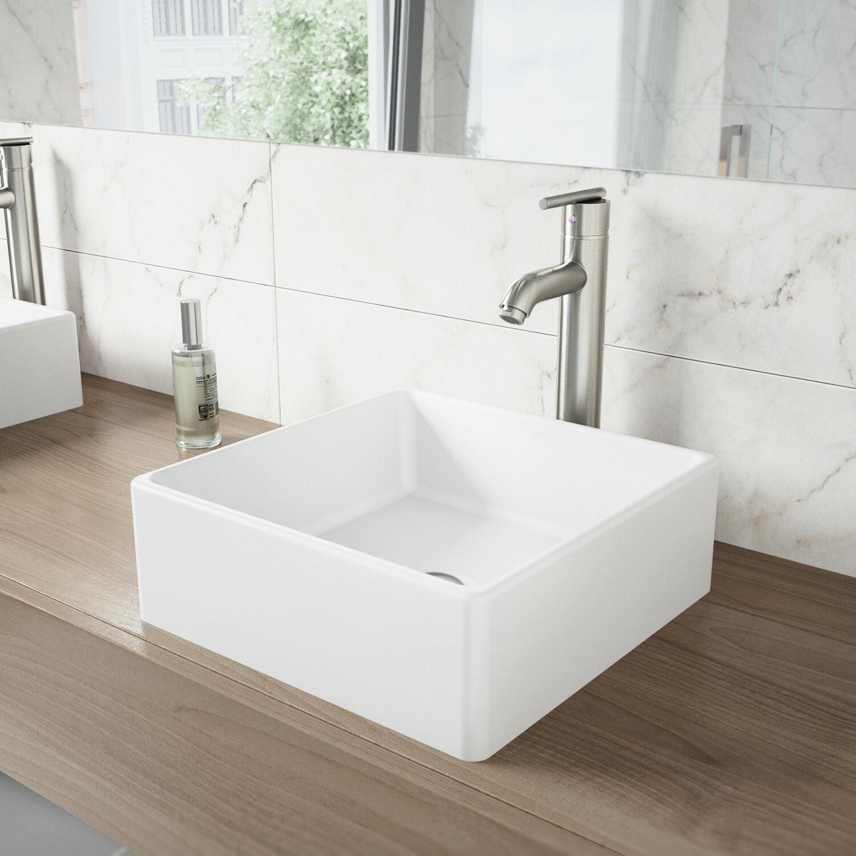 VIGO Matte Stone Square Vessel Bathroom Sink & Reviews | Wayfair on
