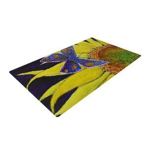 David Joyner Butterfly Blue/Yellow Area Rug