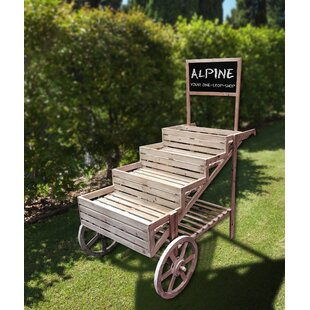 Wooden Cart Display Plant Stand