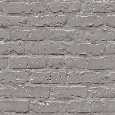 Turn on the Brights Halpin Faux Industrial Chic 32.97' x 20.8 Brick Wallpaper Roll Color: Grey