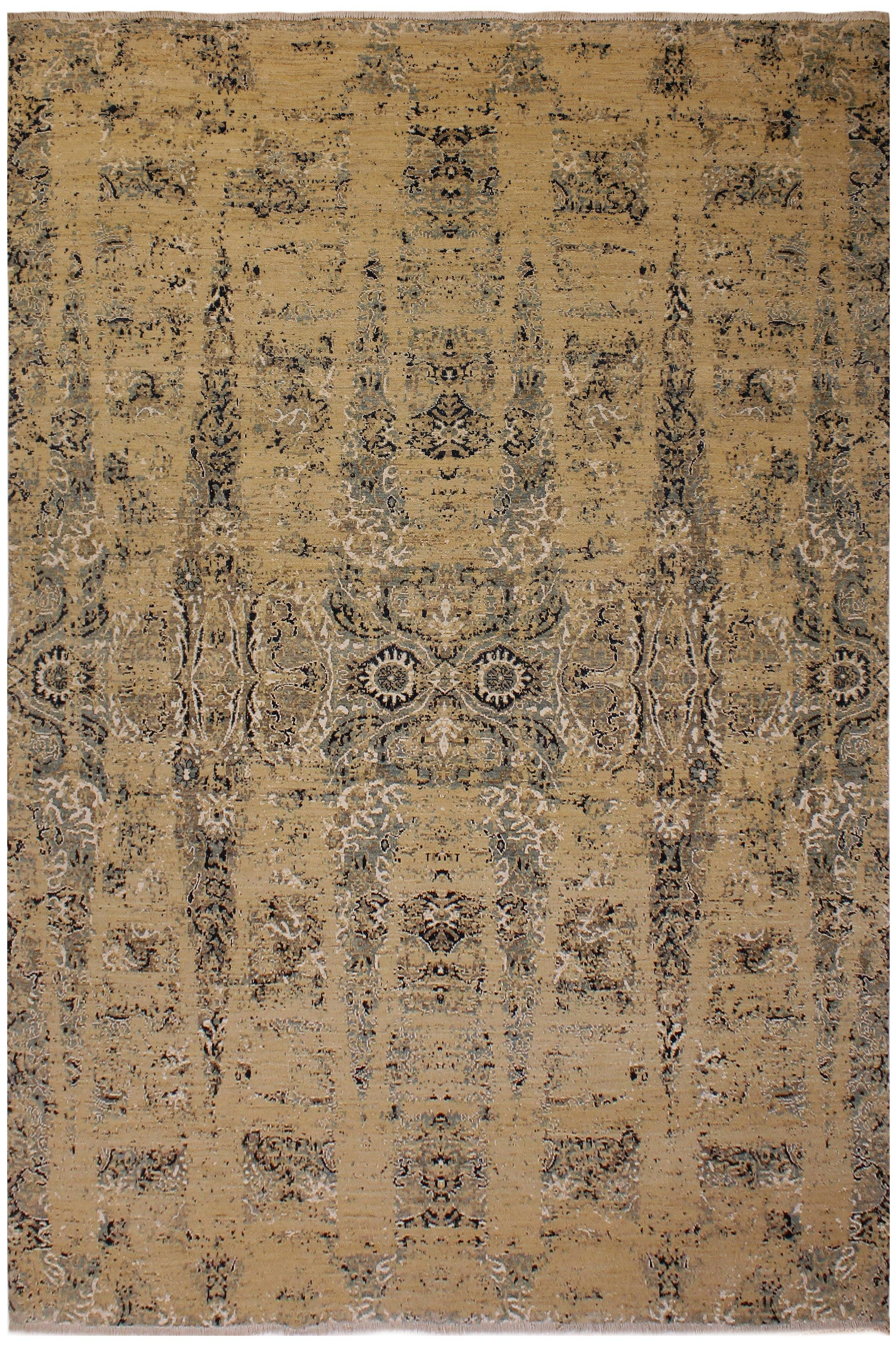 Isabelline One Of A Kind Fairhaven Peshawar Modern Hand Knotted 10 X 14 Wool Tan Gray Area Rug