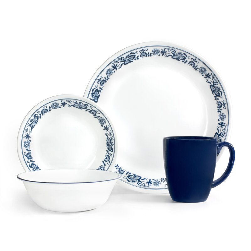 corelle livingware old town 16 piece dinnerware set, service for 4