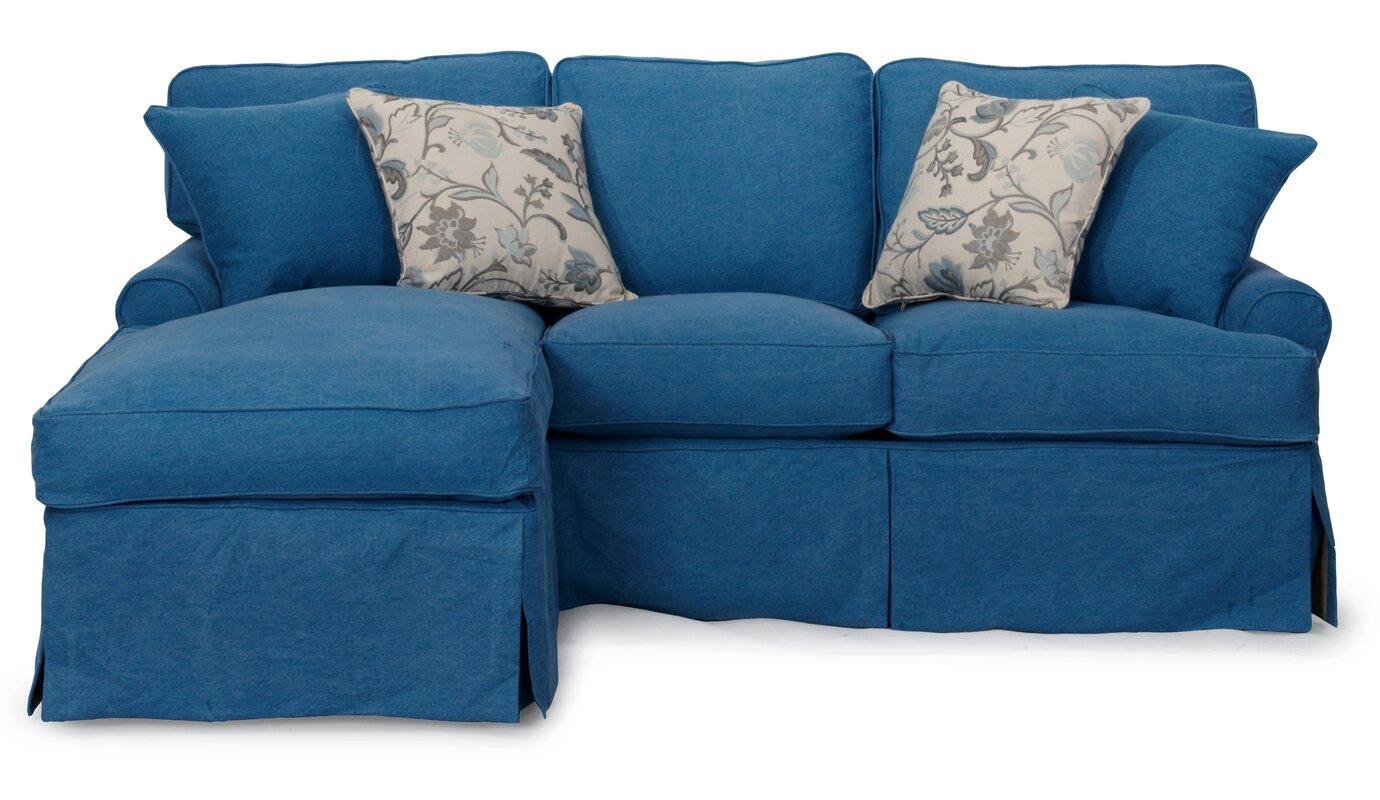 Beachcrest Home Coral Gables T Cushion Sofa Slipcover Set  ~ Turquoise Slipcover Sofa