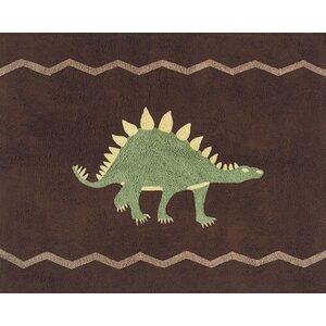 Dinosaur Land Brown Area Rug