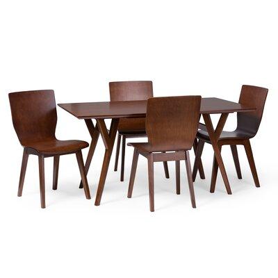 Brayden Studio Slye Dark Walnut Bent Wood 5-Piece Dining Set