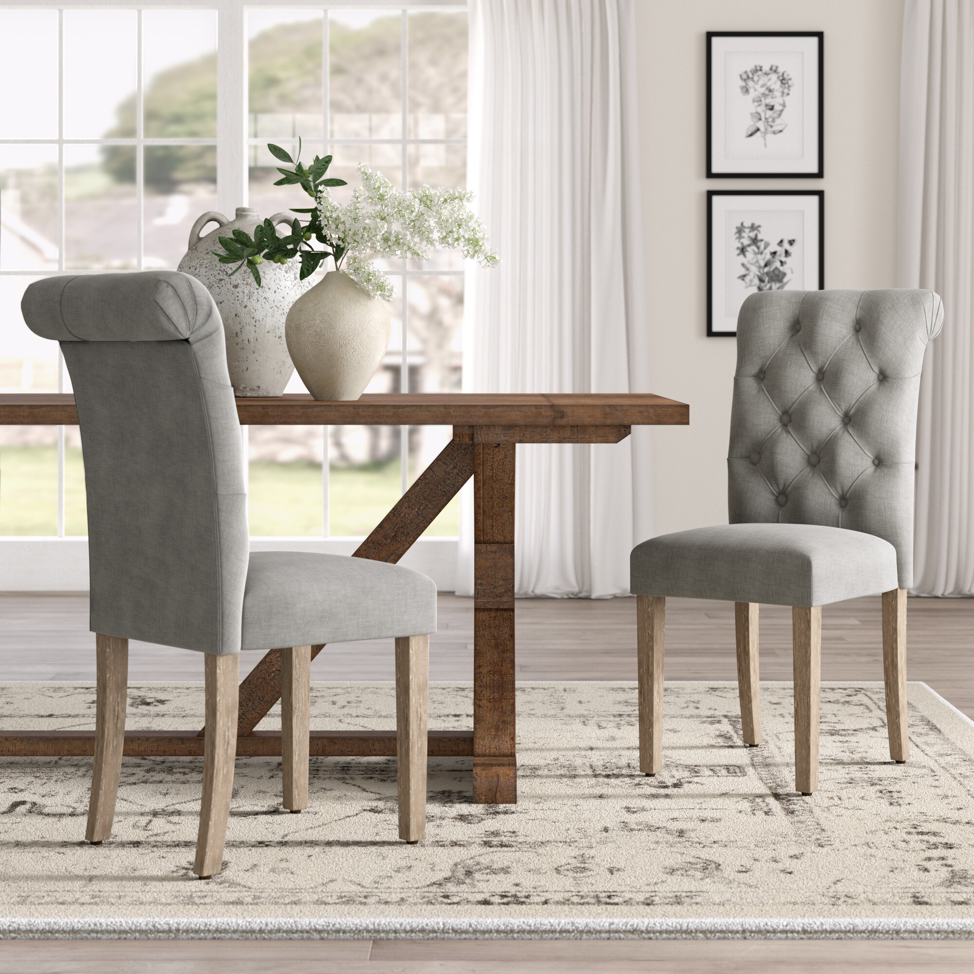 Lark manor bushey roll top tufted modern upholstered dining chair reviews wayfair