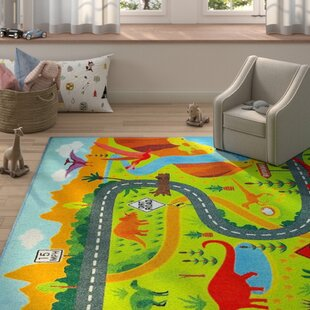 Weranna Dinosaur Dino Safari Road Map Educational Learning Green/Blue  Indoor/Outdoor Area Rug. By Zoomie Kids