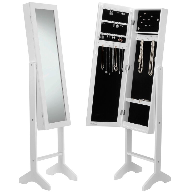Beautify Mirrored Jewelry Armoire with Mirror Reviews Wayfair