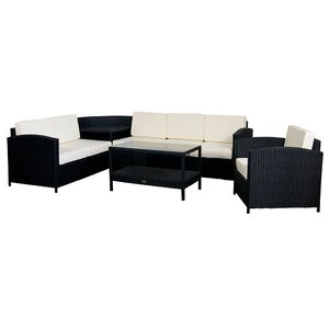 5-tlg. Polyrattan-Lounge-Set mit Kissen von Essella