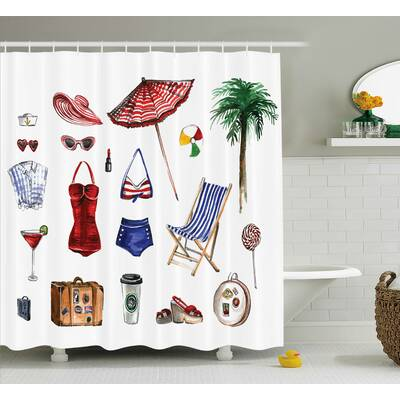 Carrie Girly Nostalgic Female Beach Fashion Object Solar Summer Hot Travel Palms Concept Picture Shower Curtain