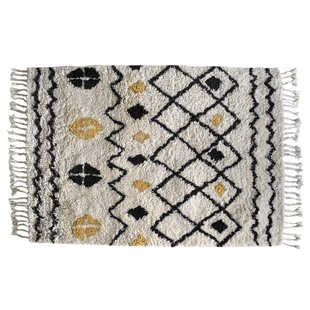 Almont Hand Tufted Wool Black/Cream Rug by World Menagerie