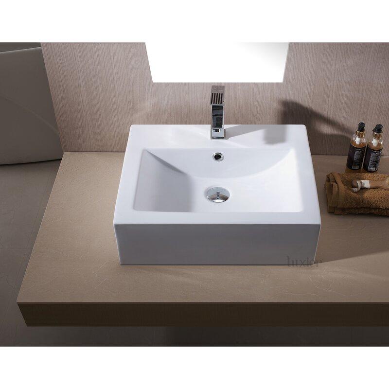 Bathroom Sinks Porcelain luxier l-003 bathroom porcelain ceramic rectangular vessel