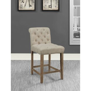 Stoker Tufted Upholstered Counter Stools Driftwood and Beige (Set of 2) (Set of 2)