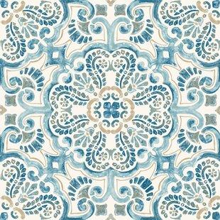 Fontaine 60.96 x 152.4cm Vinyl Field Tile in Blue (Set of 10) by Hokku Designs
