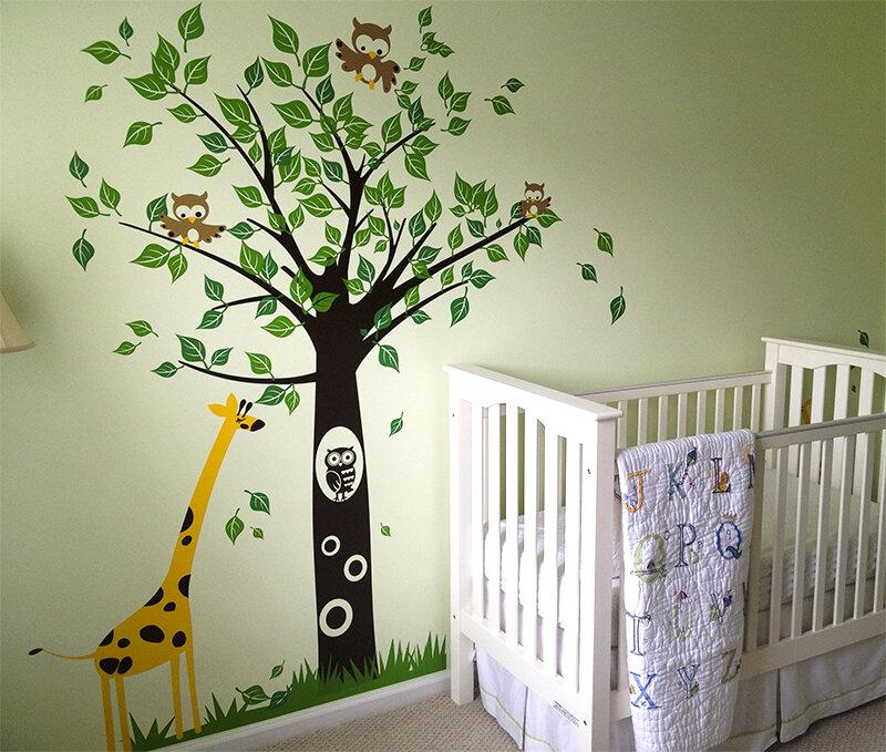 pop decors big tree with giraffe wall decal & reviews   wayfair