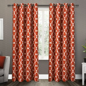 Modern Brief Ready Made Orange And White Striped Chevron Curtains