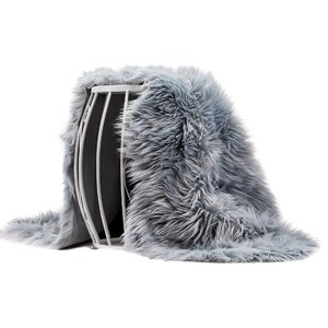 Lucille Solid Chair Cover Shaggy Gray Area Rug