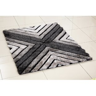 3D Whisper Cross Hand-Tufted Silver Area Rug by Hazelwood Home