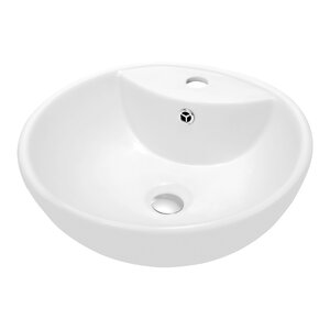 Ceramic Circularr Vesselu00a0Bathroomu00a0Sink with Overflow