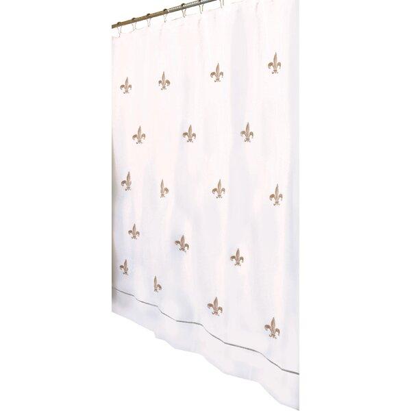 Jacaranda Living Fleur De Lis Embroidered Shower Curtain