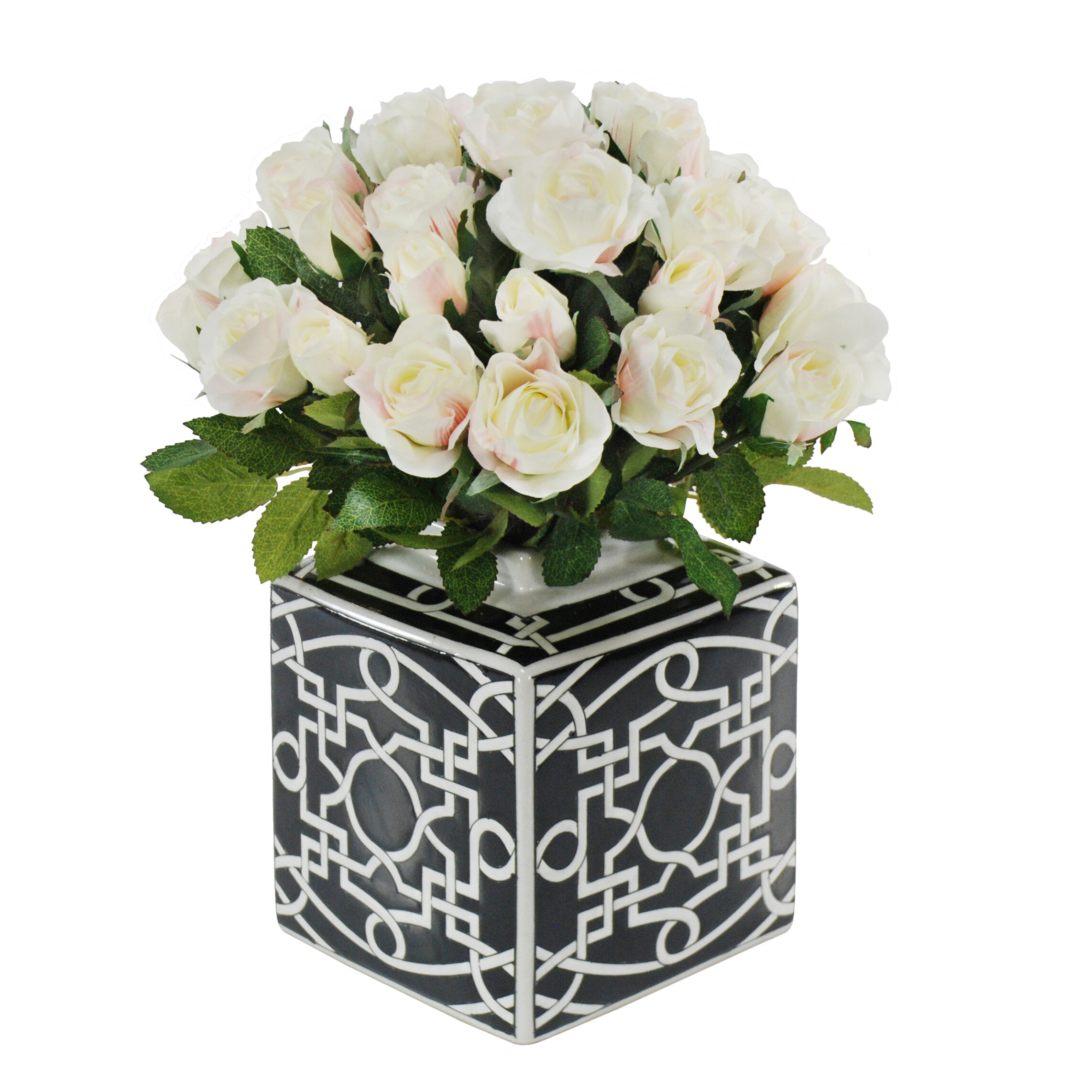 Jane Seymour Botanicals Rose Bouquet In Black White Ceramic Vase