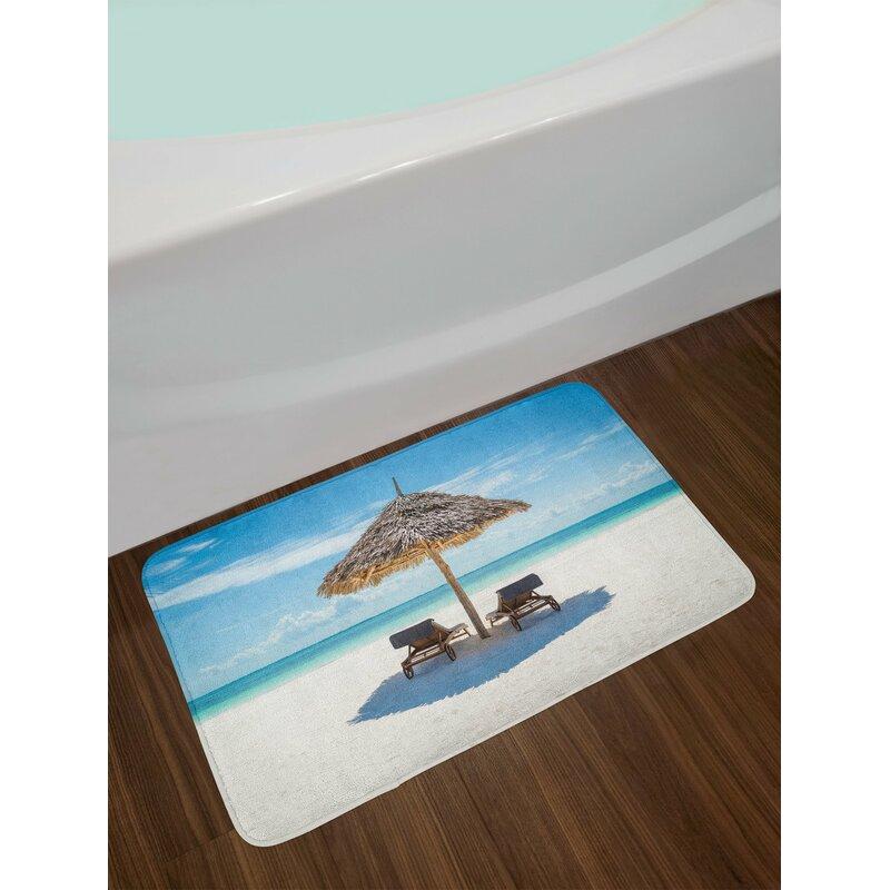 Seaside Wooden Sun Loungers Bath Rug