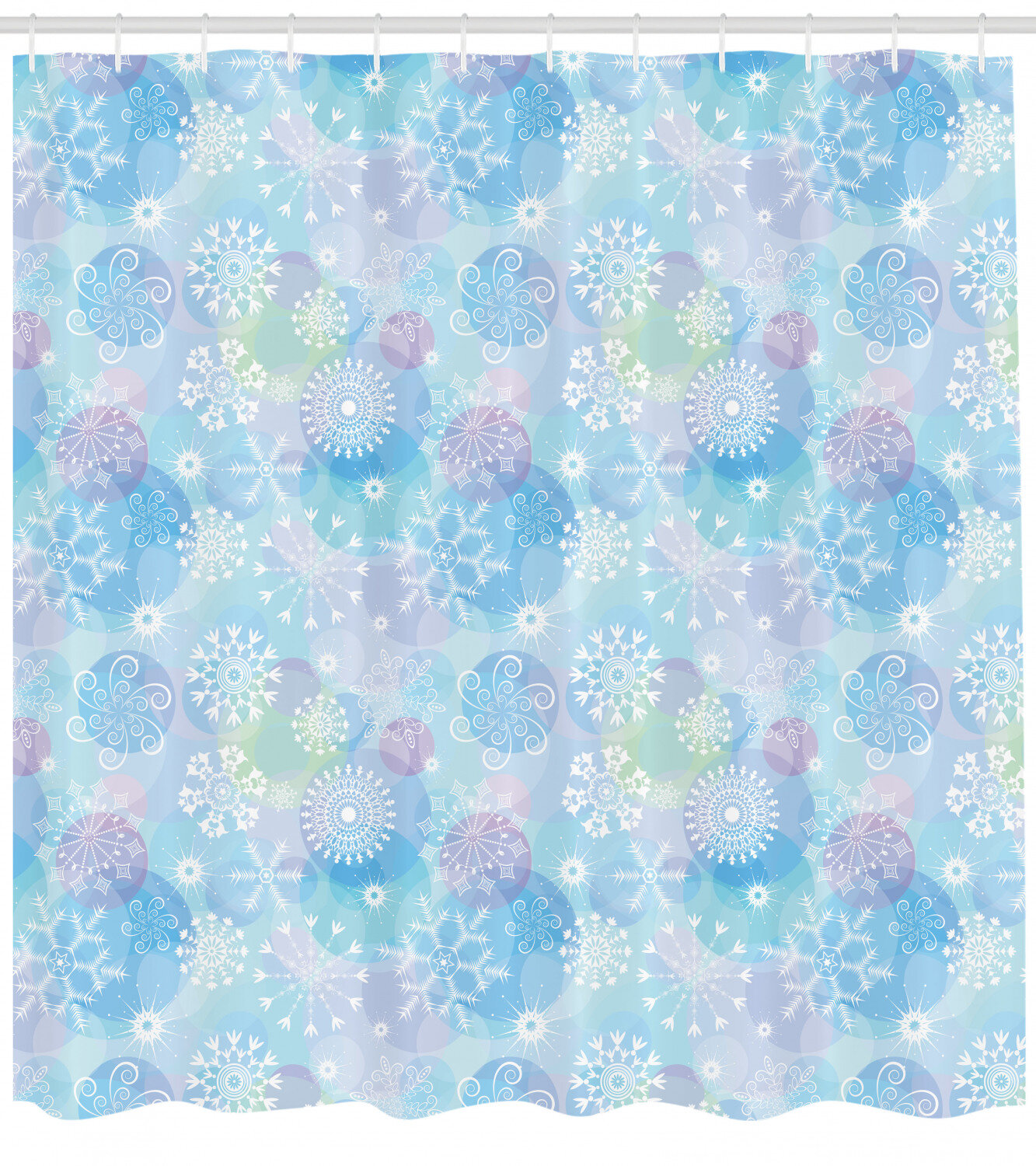 Ambesonne Snowflake Shower Curtain Bokeh Style Background With Abstract Snowflake Pattern Winter Themed Composition Cloth Fabric Bathroom Decor Set