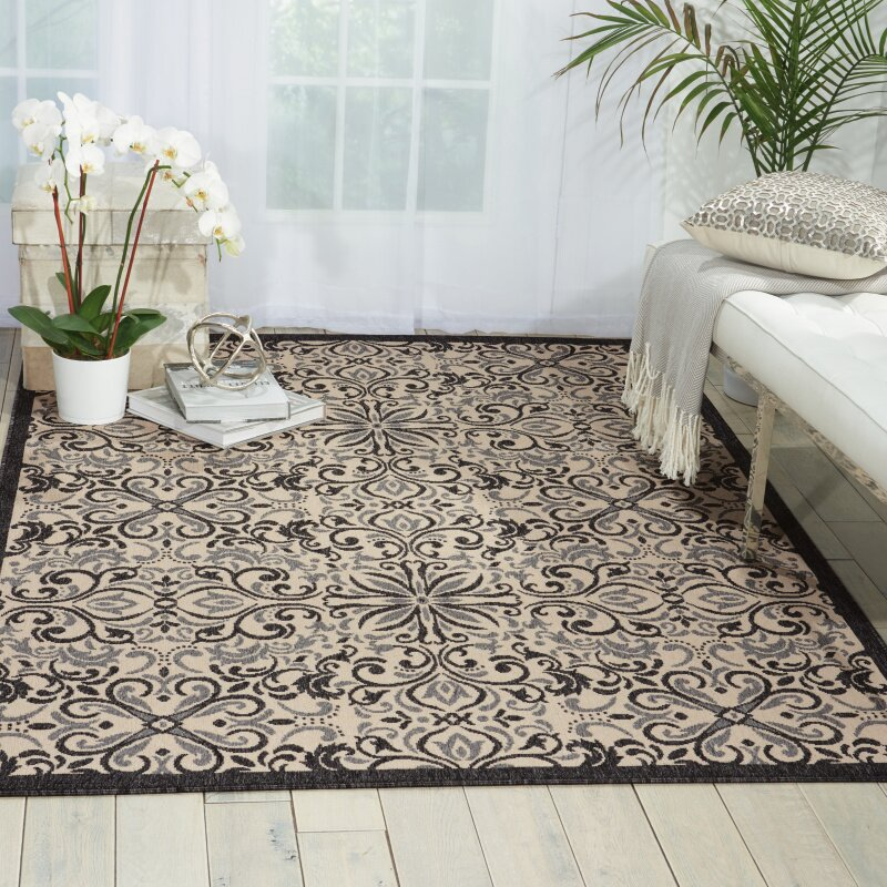 Charlton Home Ashby Ivory/Charcoal Indoor/Outdoor Area Rug ...