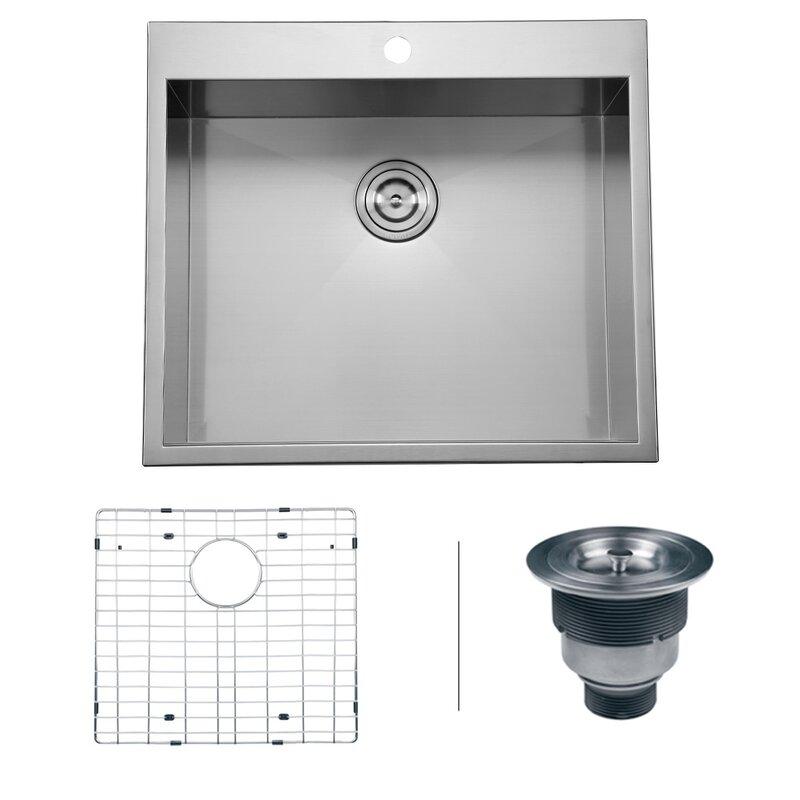 tirana 25   x 22   overmount 16 gauge single bowl kitchen sink tirana 25   x 22   overmount 16 gauge single bowl kitchen sink      rh   allmodern com