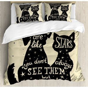 cat and dog silhouettes with friendship themed phrase ans stars grungy display duvet set
