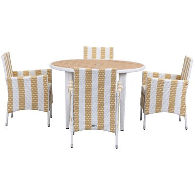 Breakwater Bay Rodric 5 Piece Dining Set Color: Gold/White