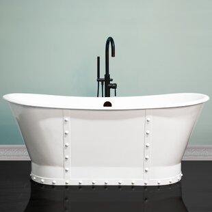Quickview Cambridge Plumbing Stylish Rivet Double Slipper 67 X 27 Freestanding Soaking Bathtub