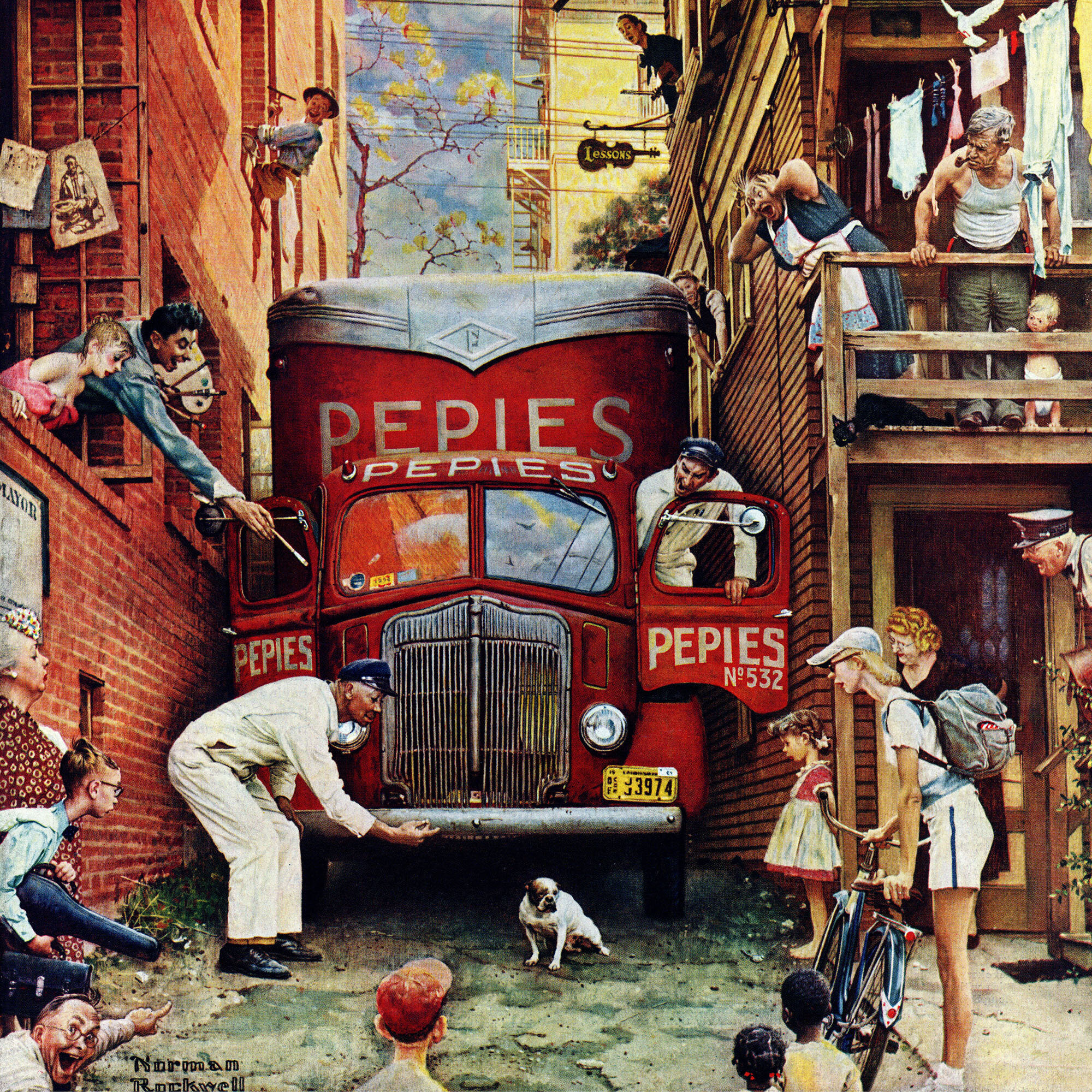Marmont Hill \'Road Block\' by Norman Rockwell Painting Print on ...