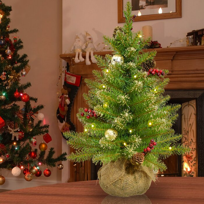 Glittery 2 Green Champagne Gold Fir Artificial Christmas Tree With 15 Warm White Lights
