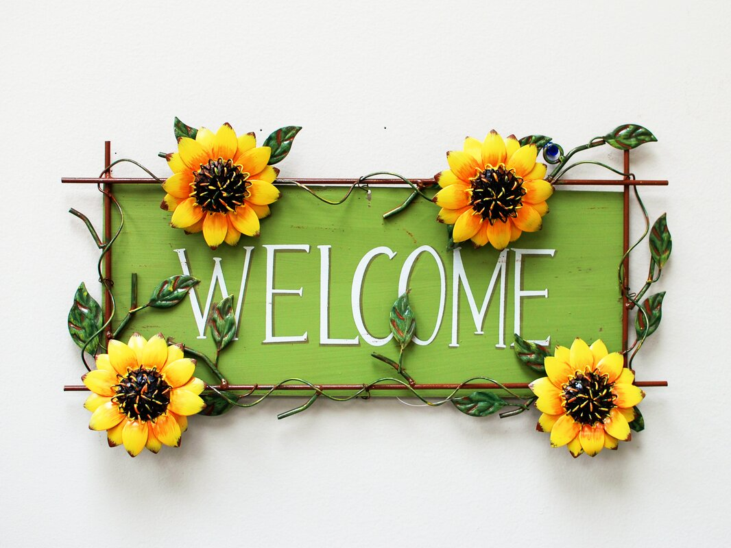 Welcome Wall Decor attractiondesignhome sunflower welcome sign wall décor & reviews