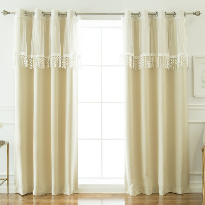 Beese Leaf Fringe Valance Solid Blackout Thermal Curtain Panels