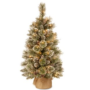 3 green pine artificial christmas tree with 35 clearwhite incandescent lights